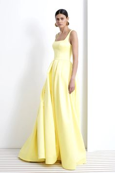 BURNETT NEW YORK yellow summer gown formal dress black tie designer gown Big Yellow Taxi, Summer Gowns, Maid Dress, Designer Gowns, City Style, Resort Wear, Black Tie, New York Fashion, Formal Dresses