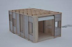 1:10 model for a very low-cost, collapsable, connectable, lockable and insulated student-home with a structure of a shelf system. Development in progress, follow them on www.attb.nl and https://www.facebook.com/ateliertothebone