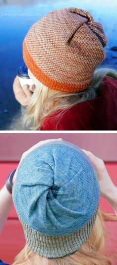 Free Knitting Pattern For Cyclone Hat Beanie With Twisted Crown And No Increasing Or Decreasing Double Layered S Hat Knitting Patterns Knitted Hats Knitting