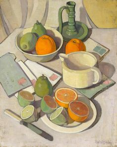 Alison Rehfisch's dynamic composition 'Oranges and lemons' c1934 portrays a carefully constructed still life using a strict palette. The work depicts a plate, bowl and modernist jug in white and eggshell hues upon a pale tabletop, which fills most of the canvas and flattens the pictorial plane. Scattered fruit, a candleholder and stamped envelopes introduce colour in accordance with the artist's precise tonal scale. See this work on display in our 20th & 21st c Australian art gallery…