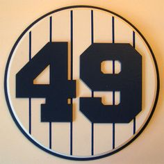 Retired Number 49 Plaque Yankees Ron Guidry - large. Memorial Plaque is painted wooden/mdf disks with blue pinstripes and applied Yankees player number. Overall dimensions are 10″ diameter by 5/8″ high. In Stock at http://www.yankeesroom.com $39.00 USD