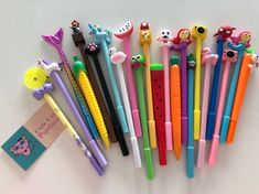 Stationary Store, Stationary School, Cute Stationary, School Stationery, Cadeau Communion, Pencil Topper Crafts, 10 Year Old Gifts, Fancy Pens, Cute Girl Drawing