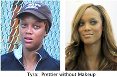 "Makeup Artists:  Please stop matching makeup with hair color. Tyra looks prettier when you match her coppery-pink undertones! Read more about this in my new ebook ""Color Me Correctly, Please."""
