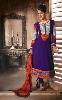 Purple Party Wear Salwar Dress In Georgette With Nice Resham Embroidery. Buy Online Now - http://gravity-fashion.com/15822-purple-party-wear-salwar-dress.html