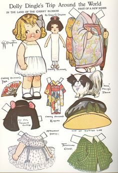 I was impressed by some antique paper dolls I found in a blog, which remind me of these paper dolls of mine. This book is a reproduction of antique paper dolls by Grace G.Drayton and I bought it somewhere many years back .I find them so sweet and I want to share them with you. Hope you enjoy them as well.