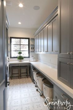 Laundry room cabinetry paint color is Benjamin Moore Trout Gray. Grey Kitchen Cabinets, Room Design, Home, Grey Laundry Rooms, Grey Kitchen, Mudroom Laundry Room, Room Storage Diy, Laundry Room Paint, Kitchen Renovation