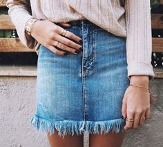 Fringe denim skirt.