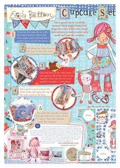 Emily Button mag pages Baby Art, Cute Illustration, Round Stickers, Cubs, Growing Up, Photographs, Collage, Cupcakes, Clip Art
