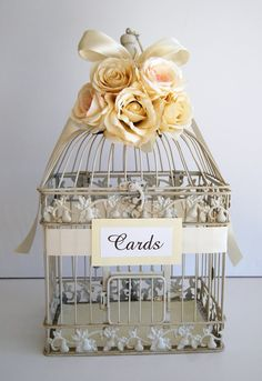 Custom Large Wedding Bird Cage Card Holder by MackensleyDesigns, $62.00