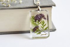 Real Flower Jewelry. Resin and Flower Pendant. Real Flower Jewelry. Wedding Party Gifts.Purple Flower and Leaf