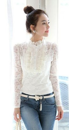 French Charm. Feminine Full Lace Long Sleeves Blouse. Romantic Top