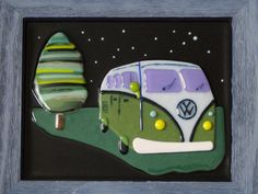 VW Bus Art Fused Glass Volkswagen Van Camper Slugbug FlutterByButterfly, $75.00