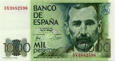 Viejo #Billete de $ 1.000,oo #Pesetas del #BancoDeEspaña con la imagen de Benito Pérez Galdós