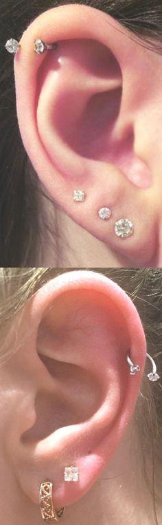 Simple Multiple Ear Piercing Combination Ideas  - Crystal Horseshoe Cartilage Helix  Earring Ring 16G - Triple Lobe Earrings - MyBodiArt.com #Piercings