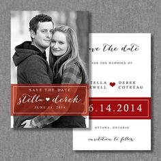 Unique, cute save the date card idea @Lauren Marshall  with purple instead of red