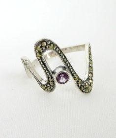 Size 7  Vintage Marcasite Ring Sterling by LeesVintageJewels