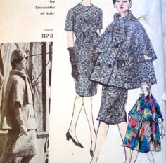 "Vintage Vogue 1178 Couturier Design by Simonetta of Italy Dress & Coat Pattern  Beautiful vintage 1950's Vogue Couturier Design pattern # 1178 by designer Simonetta of Italy for a women's dress and coat. Size 10: Bust 31"" and Hips 33"".  PATTERN IS COMPLETE & PARTIALLY CUT. Dress has been cut. Coat is uncut. Pattern has been checked for completeness.  Envelope has tape on tear on right front side. Otherwise envelope is in good condition for age with flap still intact.  SOLD $43.99"