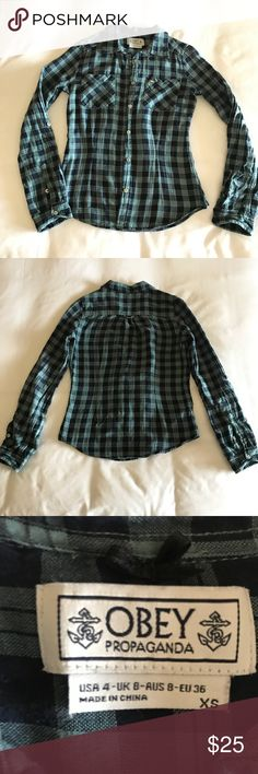 Obey Green Plaid Flannel Top Classic Green gingham button shirt. Pockets on the chest with convertible sleeve tabs. In great condition. Obey Tops Button Down Shirts