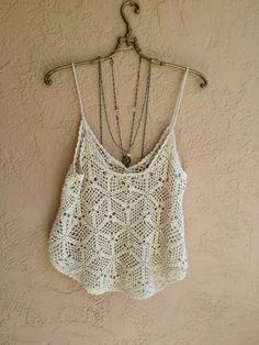 Crochet Cami Tops, White Crochet Top, Black Crochet Dress, Crochet Blouse, Crochet Bikini, Crochet Fashion, Crochet Clothes, Ideias Fashion, Creations