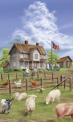 """Old Farm House.Painting ~ perfect for our """"Old Fashion Vintage Farm House"""" ~ Arte Country, Country Life, Country Living, Farm Paintings, Farm Art, House Illustration, Old Farm Houses, Country Scenes, Naive Art"""