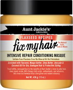 Aunt Jackie's Curls & Coils Flaxseed Recipes Fix My Hair Intensive Repair Conditioning Masque - CurlMart