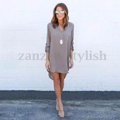 AU Seller Women Long Sleeve Deep V Neck Chiffon Mini Shirt Dress Long Top Blouse | eBay
