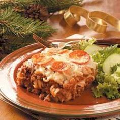 Pizza Casserole~ I make this all the time, but replace the ground beef with ground sausage. YUMMY!!!