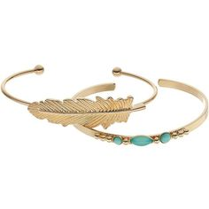 LC Lauren Conrad Feather & Aqua Cabochon Cuff Bracelet Set (705 DOP) ❤ liked on Polyvore featuring jewelry, bracelets, cuff bangle, cabochon jewelry, feather cuff bracelet, lc lauren conrad and feather bangle