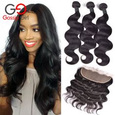 7A Peruvian Virgin Hair With Closure Ear To Ear Lace Frontal Closure With Bundles 13x4 Lace Frontals With Baby Hair Human Hair ** Visit the image link more details.