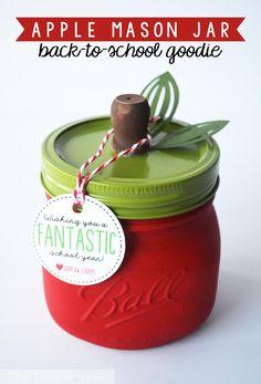 Apple Mason Jar Teacher Gift Idea - Back To School Mason Jars