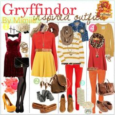"""Gryffindor inspired outfits. ♥"" by the-polyvore-tipgirls on Polyvore"