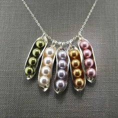 Four PEAS IN A POD Necklace  Sterling silver by jcjewelrydesign