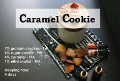 Caramel Cookie recipe to make your own e-liquids and vape the most delicious flavours. #diyeliquid #vaping #makemyvape