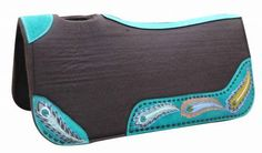 """Showman 31"""" x 32"""" x 1"""" Brown Felt Saddle Pad With Hand Painted Peacock Design"""