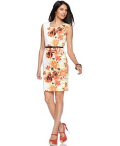 AGB Petite Dress, Sleeveless Floral Printed Belted Sheath - Womens Petite Dresses - Macy's