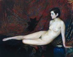 """Sorpresa"""" (Desnudo con fondo rojo), 1896.. Pintura de Ernesto de la Cárcova (1866-1927). Museo Nacional de Bellas Artes y Colección privada."""