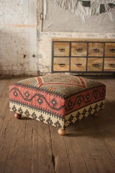 Large Wool Kilim Coffee Table Ottoman Square,32''d x 18''h.LAST ONE! #Handmade #Moroccan