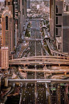 Sheikh Zayed Road running through the heart of Dubai, United Arab Emirates. Photo by Sebastian M Dubai City, In Dubai, Dubai Uae, Abu Dhabi, Places Around The World, Around The Worlds, Beautiful World, Beautiful Places, Beautiful Pictures