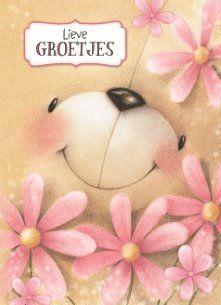 Zomaar kaart - groetjes-beer-bloem