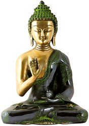 Brass Sculpture of Seated Buddha in 'Abhaya-Mudra' (Gesture-of-Fearlessness); Robes Decorated with Auspicious Symbols