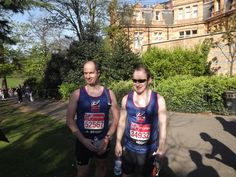 Blind Veteran Alan Lock and his sighted guide at the London Marathon 2014