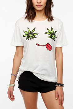 Workshop Leaf Face Nubby Tee  #UrbanOutfitters