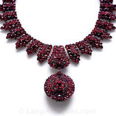Victorian Bohemian Garnet Necklace with Locket.