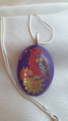 Morning Song - Bird Resin Pendant by KixxCreations on Etsy
