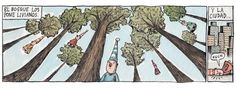 Ricardo Siri Liniers - Same happens to me X_X I've learned to blame it on the annoying amount of sound. Cars and honking and people talking . uuugh rather be among trees >. Humor Grafico, Utility Pole, Illustration, Shit Happens, Blame, People, World, Woods, Character Design