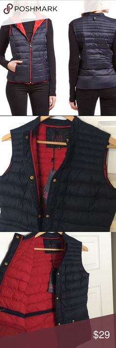 NWT thin puffer vest navy w/ red liner This is not the one that features a hood!  Thanks for shopping my page! Buy 2 at 15% off & get 1 free for best bundling deal!! Olivia Miller Jackets & Coats Vests