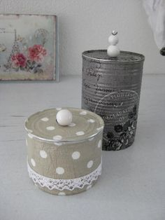mitbringsel-by-michelle: November 2012 - Make Up Desk Tin Can Crafts, Diy Home Crafts, Arts And Crafts, Altered Tins, Decoupage, Metal Tins, Shabby Chic Style, Crafty Craft, Mason Jars