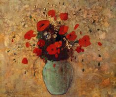 Vase of poppies by @redonart #realism