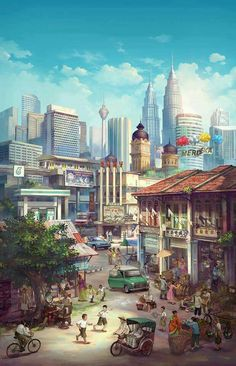 For this article in the international artist series, we turn to Malaysia, featuring six artists who create fantastic work, from illustration to graphic design and more! I asked each artist how. Art And Illustration, Fantasy Landscape, Landscape Art, Anime City, International Artist, Jolie Photo, Anime Scenery, City Art, Fantasy Artwork