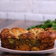 Pesto Chicken-Stuffed Garlic Bread